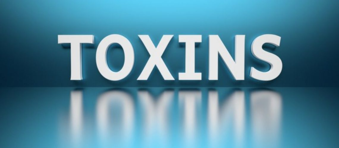 Word Toxins written in white bold letters standing on blue shiny reflective surface. 3d illustration.